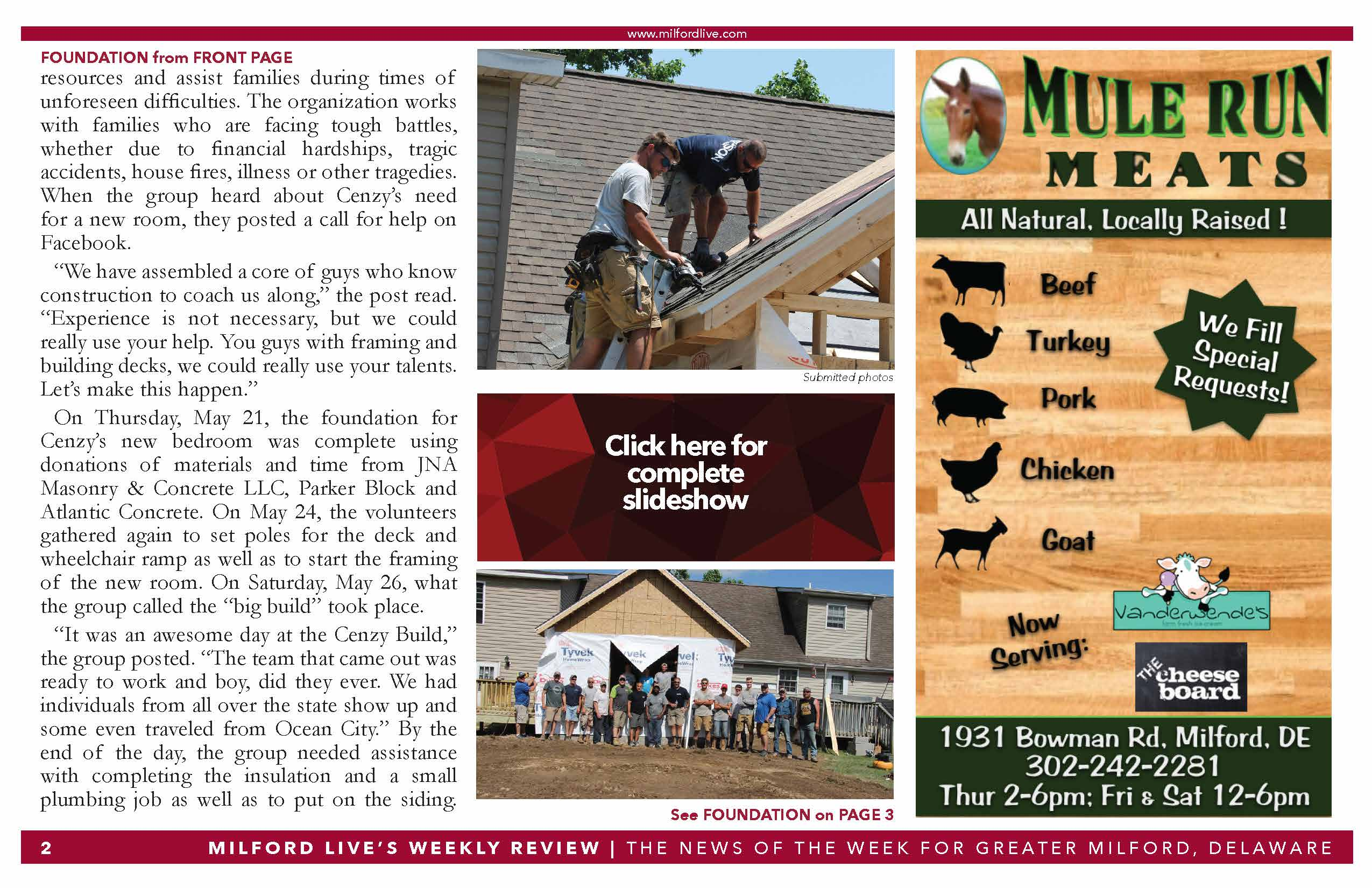 Cenzy Project Milford Live article 2018 Page 2